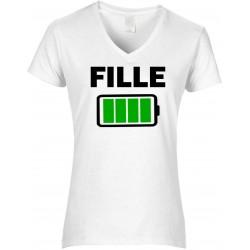 T-shirt femme Col V Fille batterie pleine Cadeau D'amour