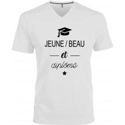 T-shirt homme Col V Jeune Beau et Diplômé Cadeau D'amour