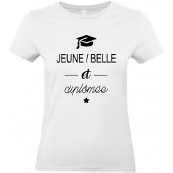 T-shirt femme Col Rond Jeune Belle et diplômée Cadeau D'amour