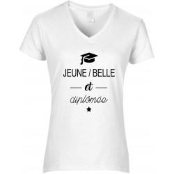T-shirt femme Col V Jeune Belle et diplômée Cadeau D'amour