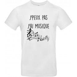 T-shirt homme Col Rond J'peux pas J'ai Musique Cadeau D'amour