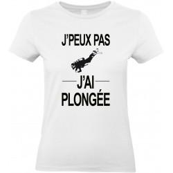T-shirt femme Col Rond J'peux pas J'ai plongée Cadeau D'amour