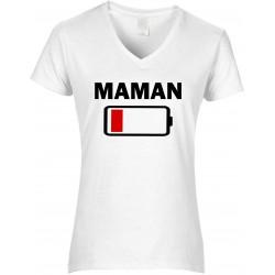 T-shirt femme Col V Maman batterie à plat Cadeau D'amour