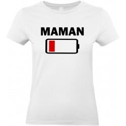 T-shirt femme Col Rond Maman batterie à plat Cadeau D'amour