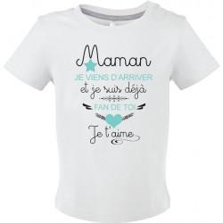 T-shirt bébé Maman je viens d'arriver et je suis déjà fan de toi je t'aime Cadeau D'amour