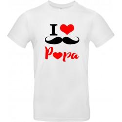 T-shirt homme Col Rond I love Papa moustache Cadeau D'amour