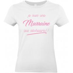 T-shirt femme Col Rond Je suis une Marraine qui déchiiiiire!! Cadeau D'amour