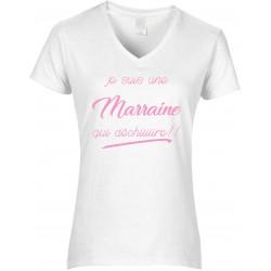 T-shirt femme Col V Je suis une Marraine qui déchiiiiire!! Cadeau D'amour
