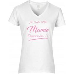 T-shirt femme Col V Je suis une Mamie formidable!! Cadeau D'amour