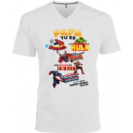 T-shirt homme Col V Papa tu es notre super-héros Préféré Cadeau D'amour