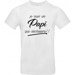 T-shirt homme Col Rond Je suis un Papi qui déchiiiiire!!! Cadeau D'amour