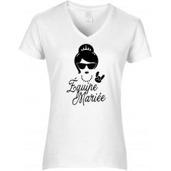 T-shirt femme Col V Equipe de la Mariée Cadeau D'amour