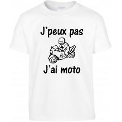 T-shirt enfant J'peux pas J'ai moto Cadeau D'amour