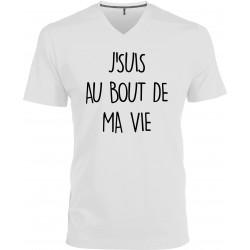 T-shirt homme Col V J'suis au Bout de ma Vie Cadeau D'amour
