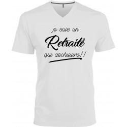 T-shirt homme Col V Je suis un retraité qui déchiiiiire Cadeau D'amour