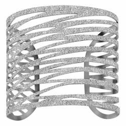 Bracelet manchette en acier Granité Argenté Thabora Thabora