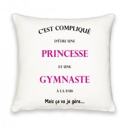 Coussin carré c'est compliqué d'être princesse et gymnaste à la fois Cadeau D'amour