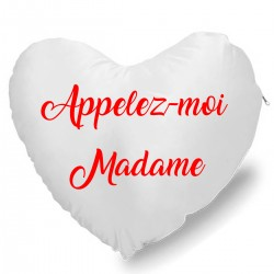 Coussin cœur appelez moi madame Cadeau D'amour