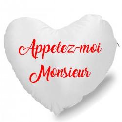 Coussin Cœur appelez moi monsieur Cadeau D'amour