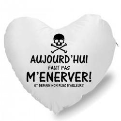 Coussin Cœur aujourd'hui faut pas m'énerver tête de mort Cadeau D'amour