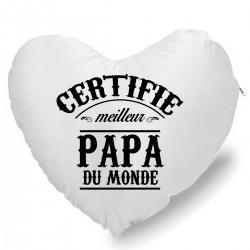 Coussin Cœur certifié meilleur papa Cadeau D'amour
