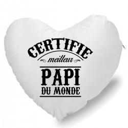 Coussin Cœur certifié meilleur papi Cadeau D'amour
