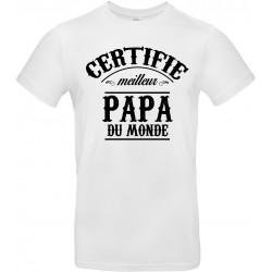 T-shirt homme Col Rond Certifié meilleur papa du monde Cadeau D'amour
