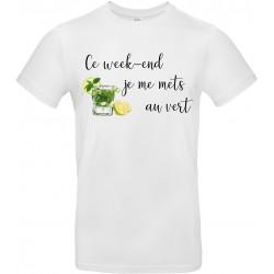 T-shirt homme Col Rond ce week-end je me mets au vert Cadeau D'amour