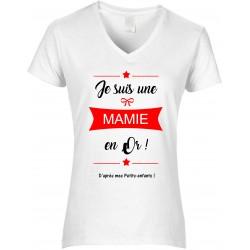 T-shirt femme Col V Je suis une Mamie en Or Cadeau D'amour
