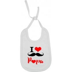 Bavoir I love Papa moustache Cadeau D'amour