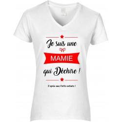 T-shirt femme Col V Je suis une Mamie qui déchiiire d'après mes petits enfants Cadeau D'amour