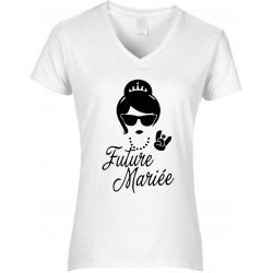 T-shirt femme Col V Future mariée Cadeau D'amour