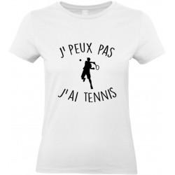 T-shirt femme Col Rond J'peux pas J'ai Tennis Cadeau D'amour