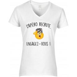 T-shirt femme Col V l'Apéro Recrute Engagez Vous Cadeau D'amour