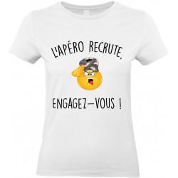 T-shirt femme Col Rond l'Apéro Recrute Engagez Vous Cadeau D'amour
