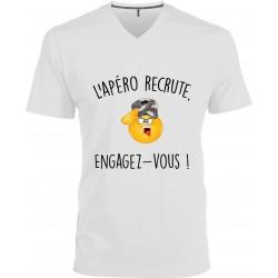 T-shirt homme Col V l'Apéro Recrute Engagez Vous Cadeau D'amour
