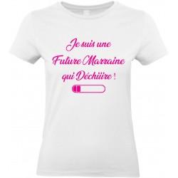 T-shirt femme Col Rond Je suis une Future Marraine qui Déchiiire Cadeau D'amour