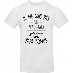 T-shirt homme Col Rond Je ne suis pas un beau-papa je suis un papa bonus Cadeau D'amour