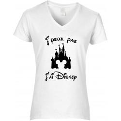 T-shirt femme Col V J'peux pas J'ai Disney Cadeau D'amour