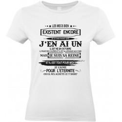 T-shirt femme Col Rond Les mecs bien existent il est né en octobre Cadeau D'amour