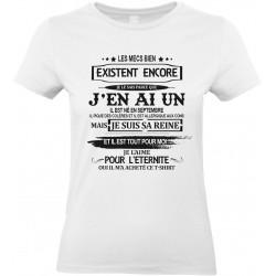 T-shirt femme Col Rond Les mecs bien existent il est né en septembre Cadeau D'amour