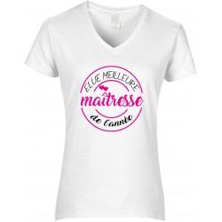 T-shirt femme Col V Elue meilleure Maîtresse de l'année Cadeau D'amour