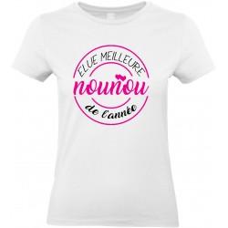 T-shirt femme Col Rond Elue meilleure Nounou de l'année Cadeau D'amour