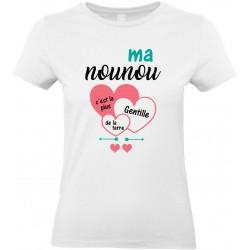 T-shirt femme Col Rond Ma nounou c'est la plus gentille de la terre Cadeau D'amour