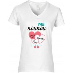 T-shirt femme Col V Ma nounou c'est la plus gentille de la terre Cadeau D'amour
