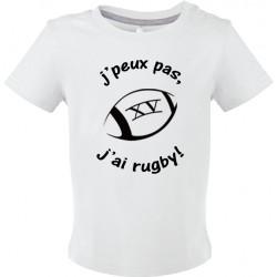 T-shirt bébé J'peux pas J'ai Rugby Cadeau D'amour