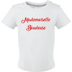 T-shirt bébé manches courtes Mademoiselle Boudeuse Cadeau D'amour