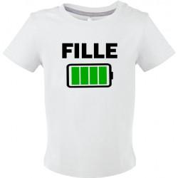 T-shirt bébé Fille batterie pleine Cadeau D'amour