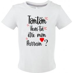 T-shirt bébé Tonton Veux tu être mon Parrain ? Cadeau D'amour